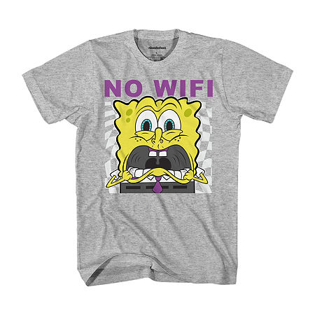 Little & Big Boys Crew Neck Spongebob Short Sleeve Graphic T-Shirt, X-small (6-7) , Gray