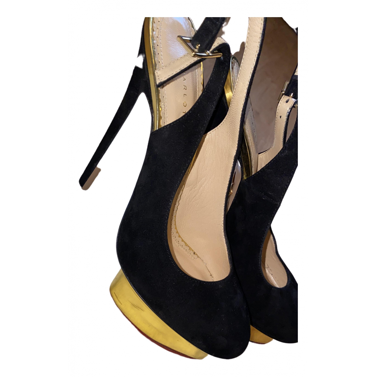 Charlotte Olympia Dolly Black Suede Heels for Women 39.5 EU