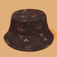 Fischerhut mit Halloween Kuerbis Muster