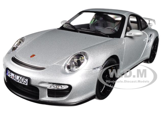 2007 Porsche 911 GT2 Silver with Black Wheels 1/18 Diecast Model Car by Norev