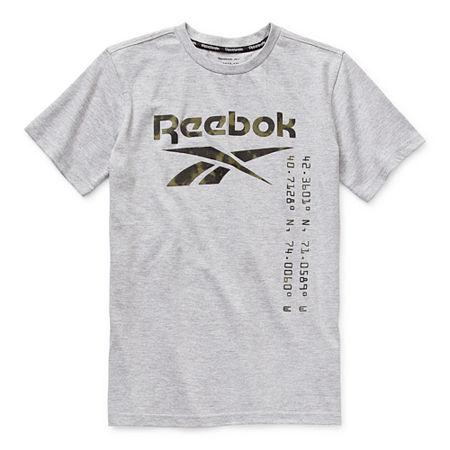 Reebok Big Boys Crew Neck Short Sleeve T-Shirt, Large (14-16) , Gray