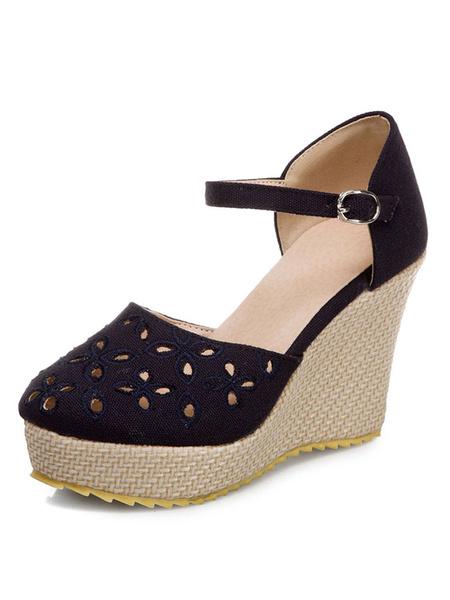 Milanoo Zapatos de boda de playa Zapatos de novia de tacon de cuña de lona D'orsay ahuecados