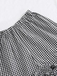 Tube Top & Gingham Ruffle Hem Shorts