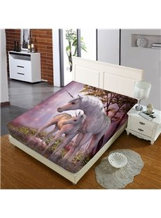 Two Pink Unicorns on The Grass Reactive Printing 1-Piece Polyester Bed Cover / Mattress Cover