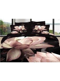3D Pink Lotus Printed Cotton 4-Piece Black Bedding Sets/Duvet Cover