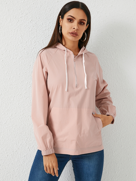 YOINS Pink Hooded Design Pullover Drawstring Hoodie