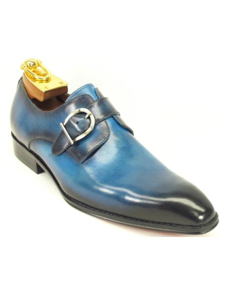 Men's Slip On Leather Monk Strap Style Loafer Shoes Ocean Blue