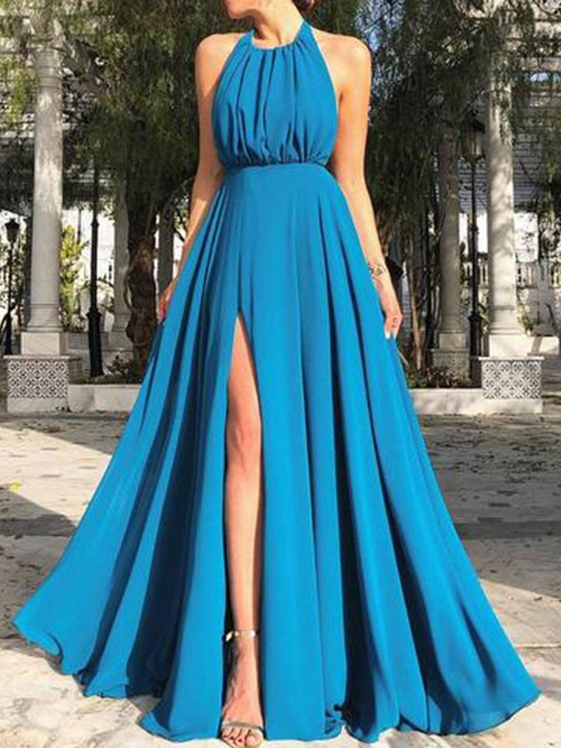 Ericdress Split Sleeveless Floor-Length A-Line Halter Dress
