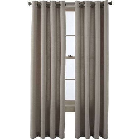 JCPenney Home Arista Light-Filtering Grommet-Top Single Curtain Panel, One Size , Beige