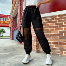 Solid Mesh Panel Flap Pocket Sweatpants