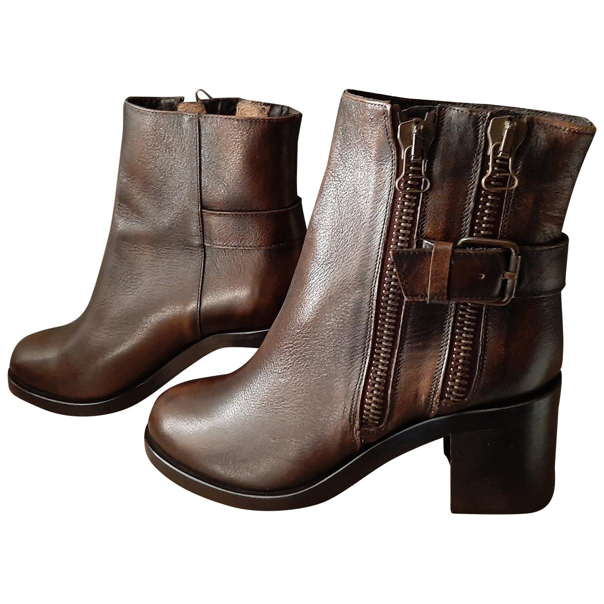 Jonak - Boots   pour femme en cuir - marron