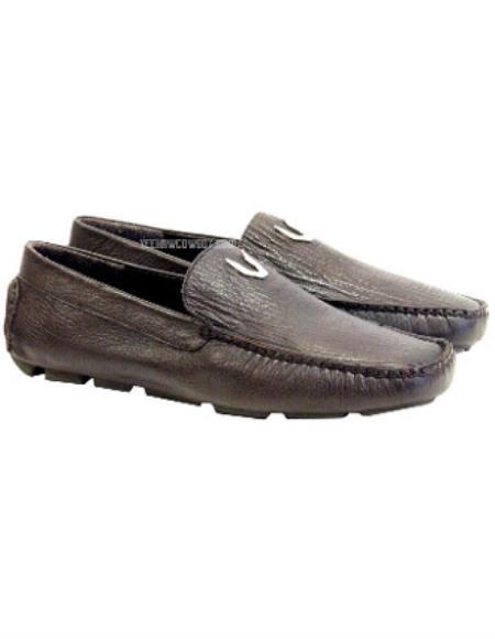 Mens Brown Vestigium Genuine Sharkskin Loafers Full Leather Lining