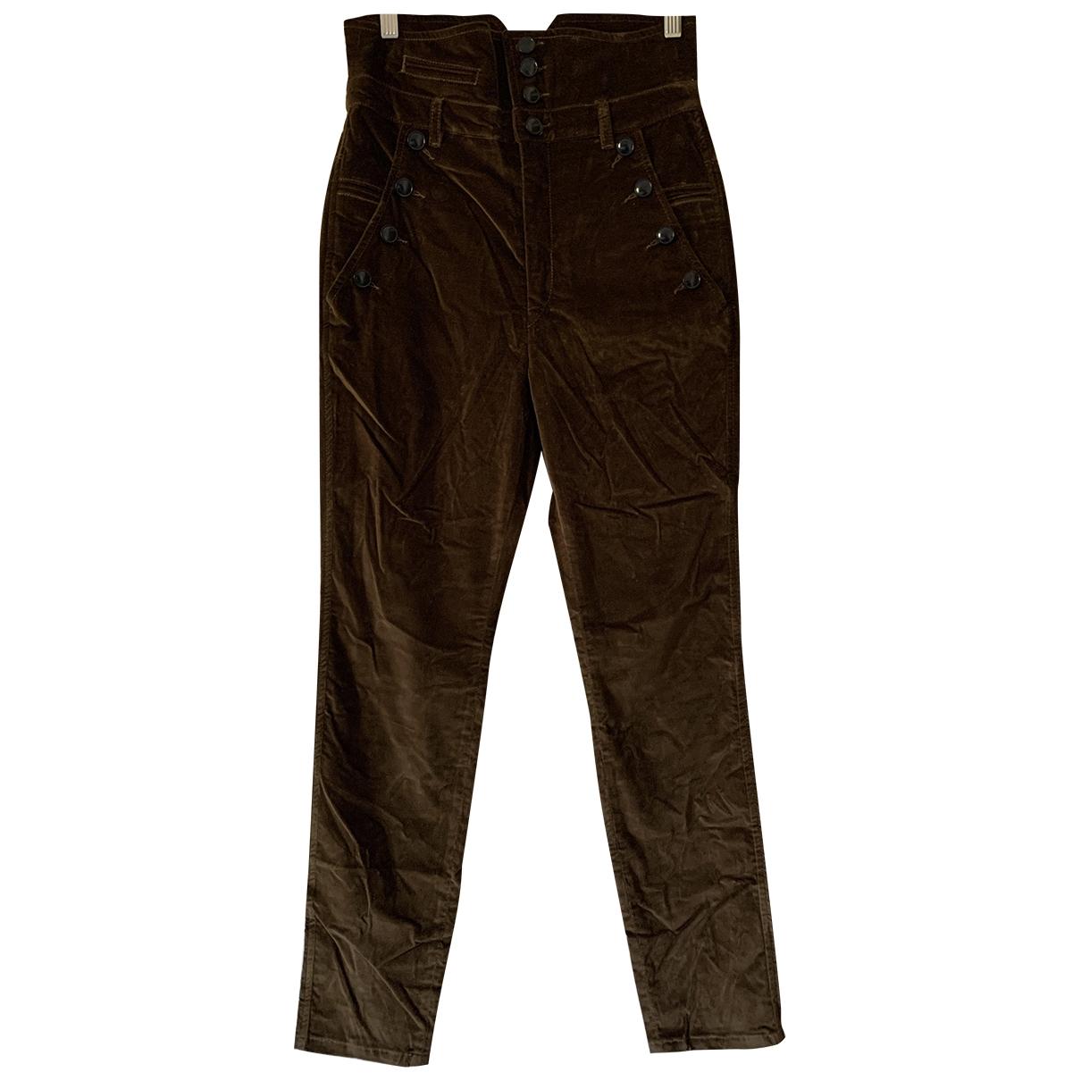 Isabel Marant \N Brown Velvet Trousers for Women 38 FR