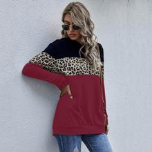 Hoodie mit Cut And Sew Design und Leopard Muster