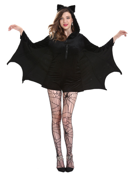 Milanoo Vampire Carnival Costumes Black Adult\'s Two-Tone Retro Animal Jumpsuit Polyester Carnival Cardigans
