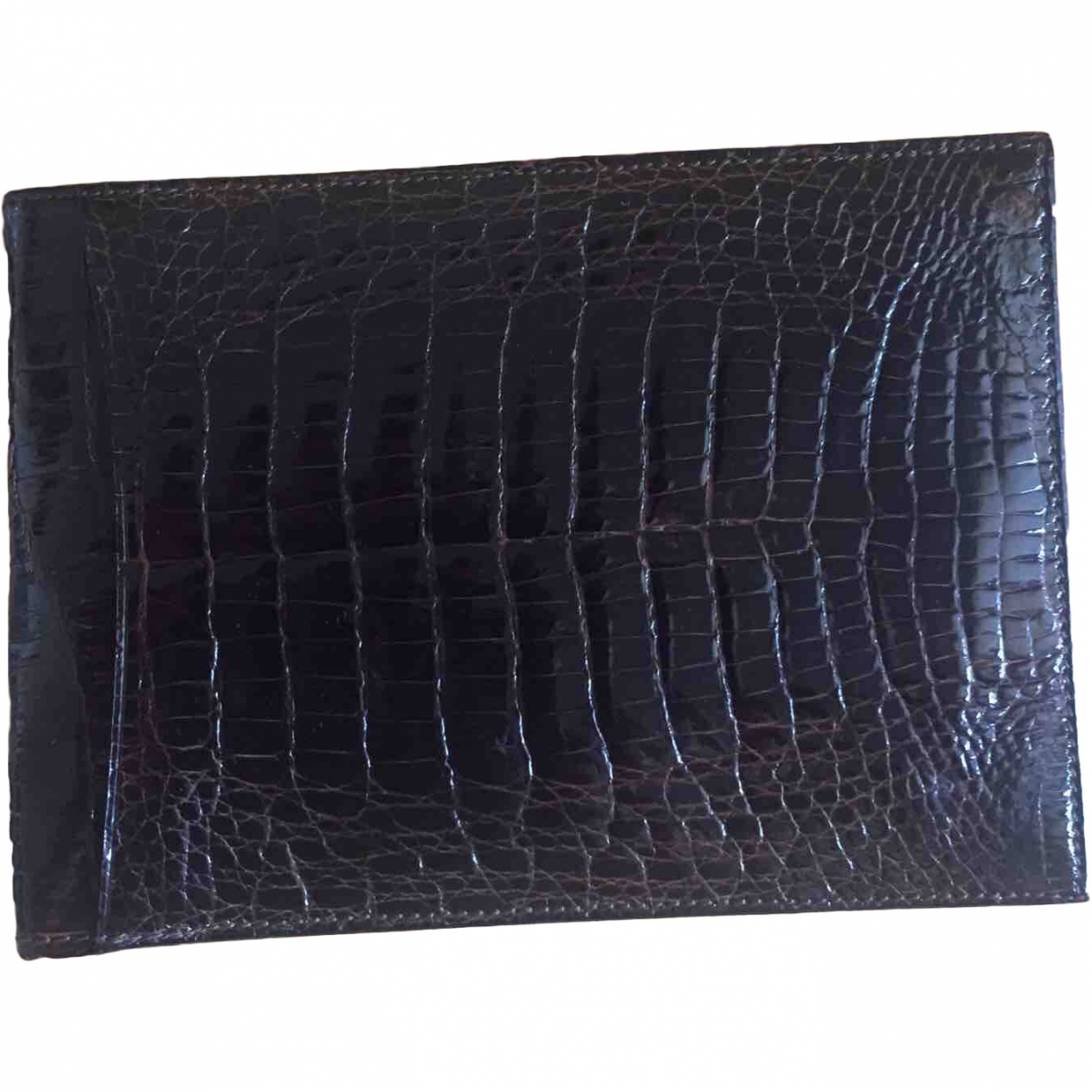 Non Signé / Unsigned \N Brown Crocodile wallet for Women \N