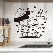 Pegatina de pared con estampado de niña de dibujos animados