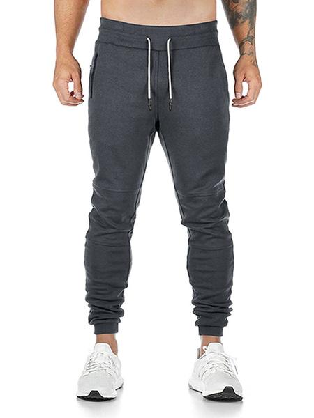 Milanoo Pantalones de chandal para correr para hombre Pantalones de chandal de entrenamiento conicos con trabilla para toallas