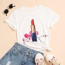 Lipstick & Floral Print Tee