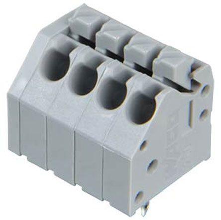 Wago 250 Series, Female 4 Pole 4 Way PCB Terminal Strip, PCB Mount, Rated At 10 (CSA) A, 5 (UL) A, 8 (IEC/EN 60664-1), Grey (5)