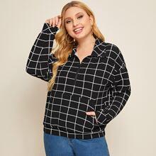 Plus Drop Shoulder Half Zip Plaid Sweatshirt