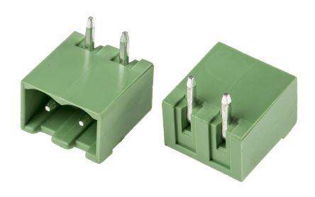 RS PRO , 2 Way, 1 Row, Right Angle PCB Terminal Block Header (10)