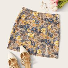Elastic Waist Split Hem Floral Skirt