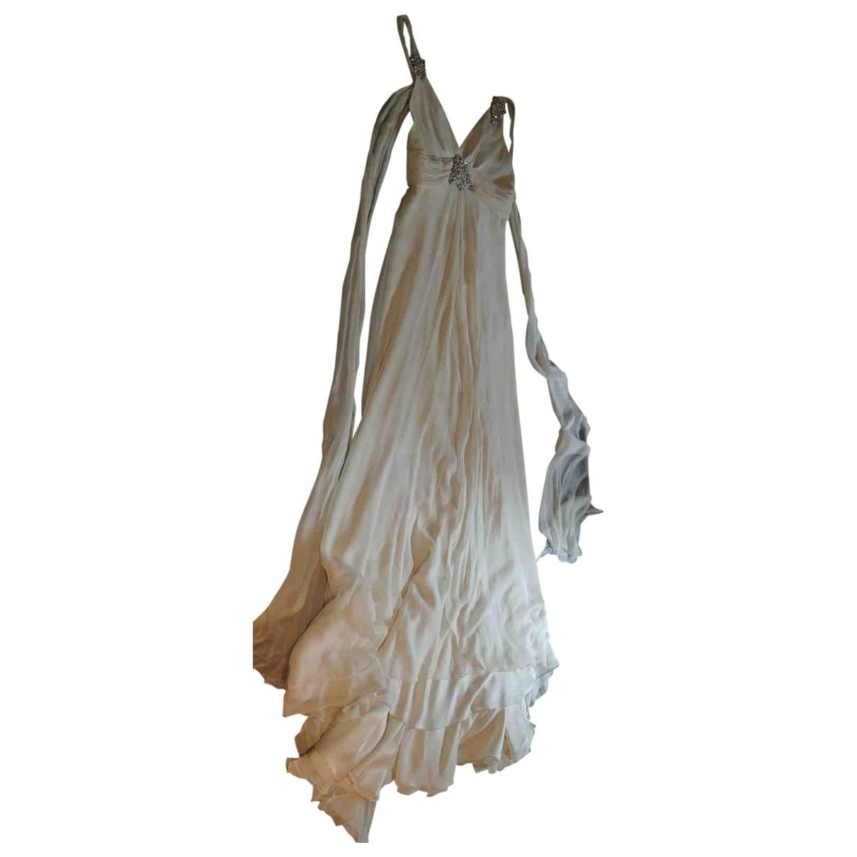 Jenny Packham \N Kleid in  Ecru Seide