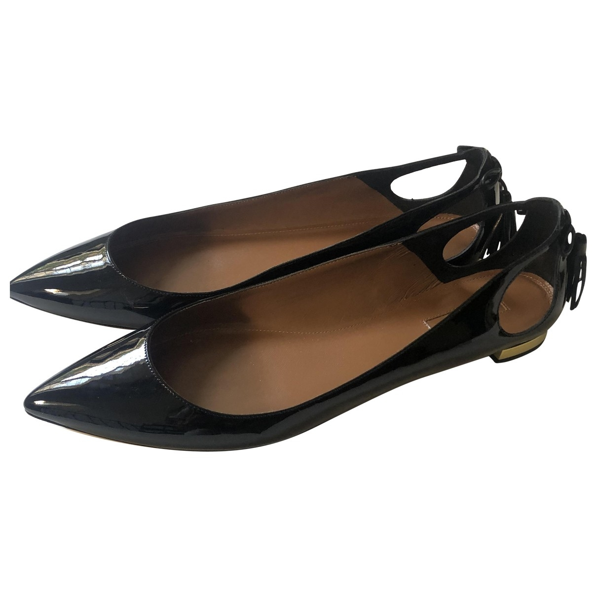 Aquazzura Christy Black Patent leather Ballet flats for Women 40.5 EU