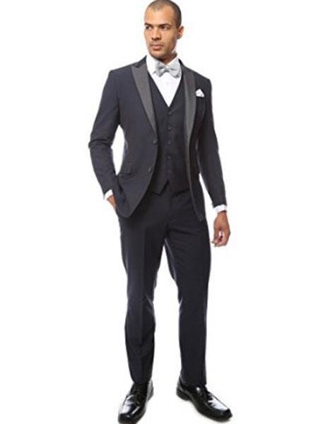 Mens Peak Lapel Two Toned Tuxedo Vested Suit Navy Blue