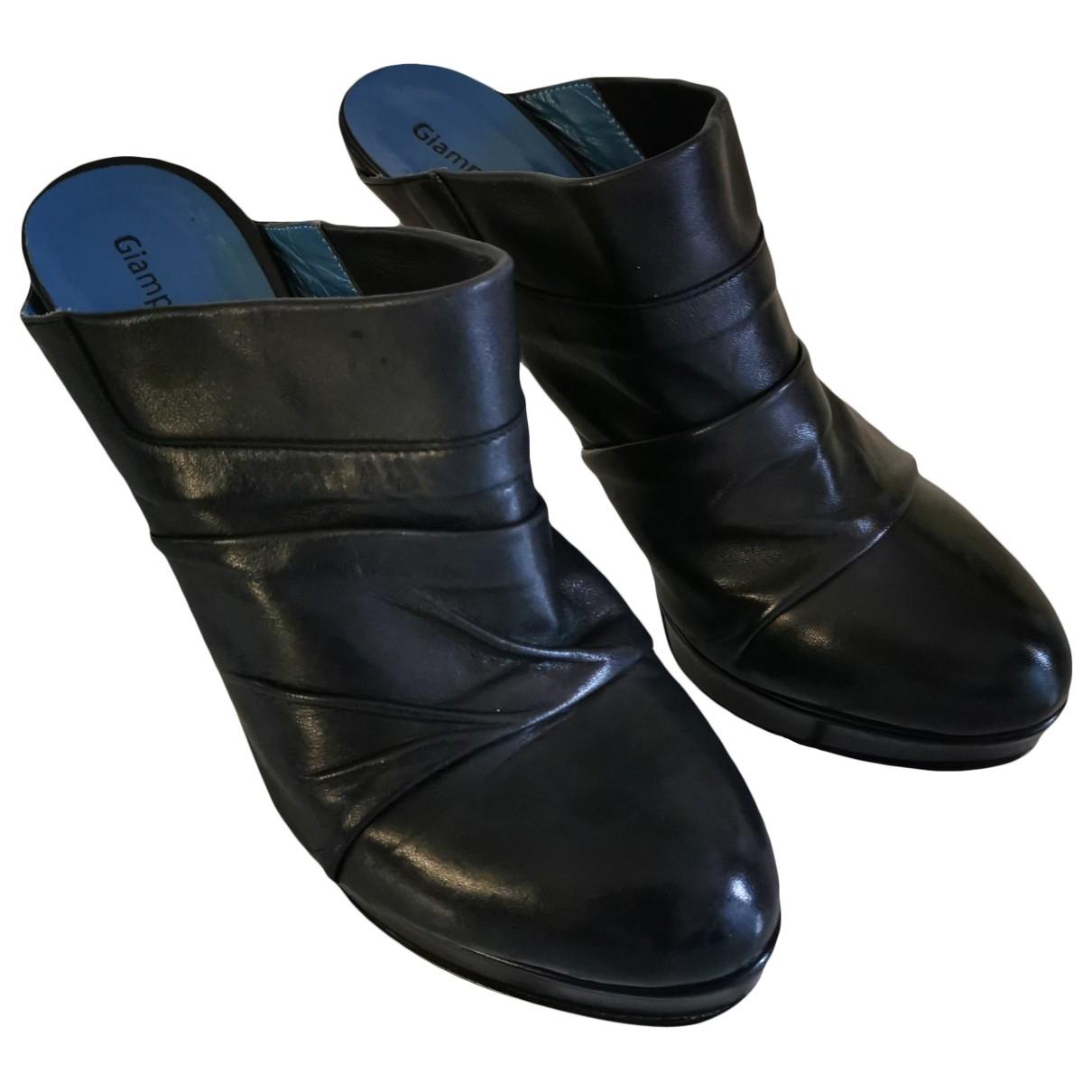 Giampaolo Viozzi \N Black Leather Sandals for Women 40 EU