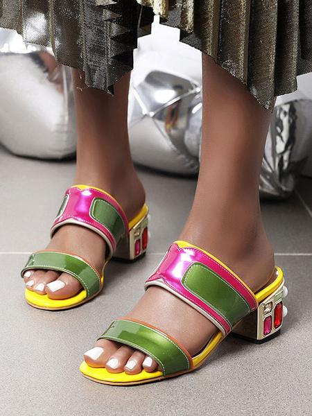 Milanoo Zapatos de tacon de bloque de bloque de Crystal Mules para mujer talla grande