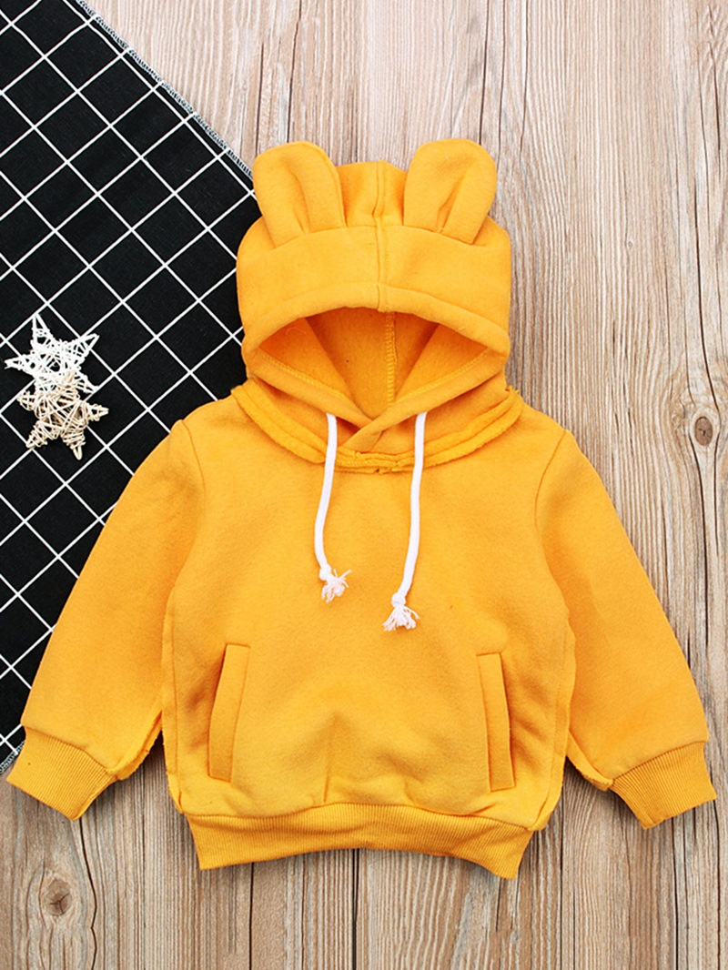 Ericdress Plain Hooded Long Sleeve Baby Boy's Sweater