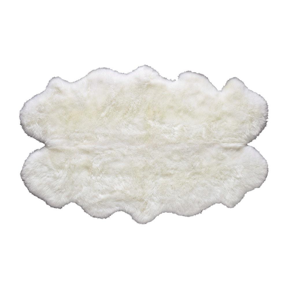 Teppich aus Schaffell, elfenbeinfarben, 110x180