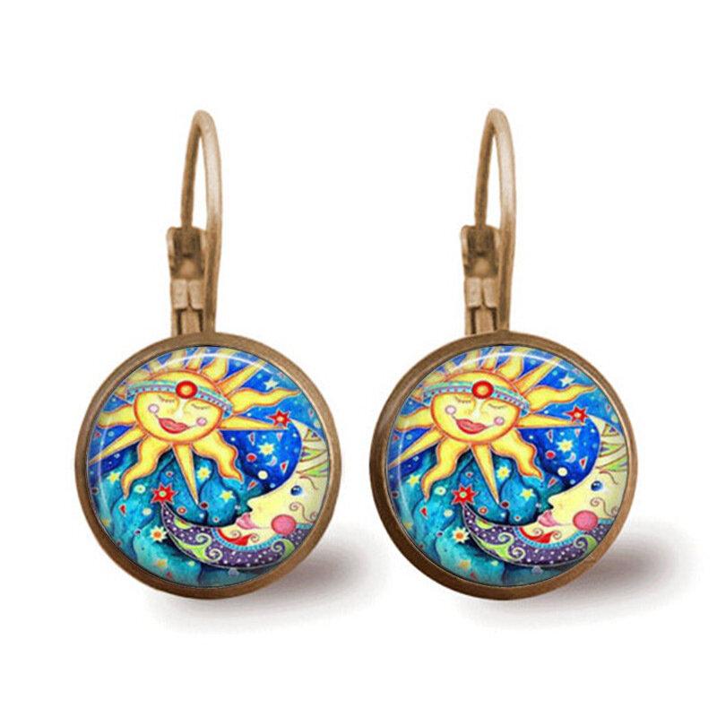 Retro Metal Geometric Sun Moon Gemstone Earrings Metal Round Abstract Sun Printed Glass Ear Clip