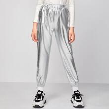 Girls Slant Pocket Metallic Pants