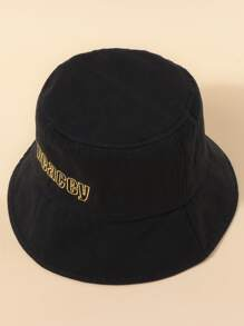 Letter Embroidered Bucket Hat
