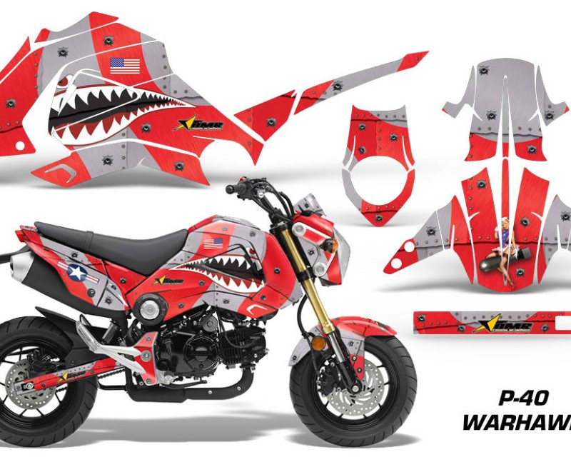 AMR Racing Motorcycle Graphics Kit Decal Sticker Wrap For Honda GROM 125 2013-2016áWARHAWK RED