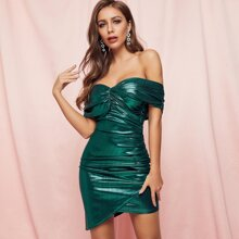 Off Shoulder Ruched Wrap Metallic Bodycon Dress