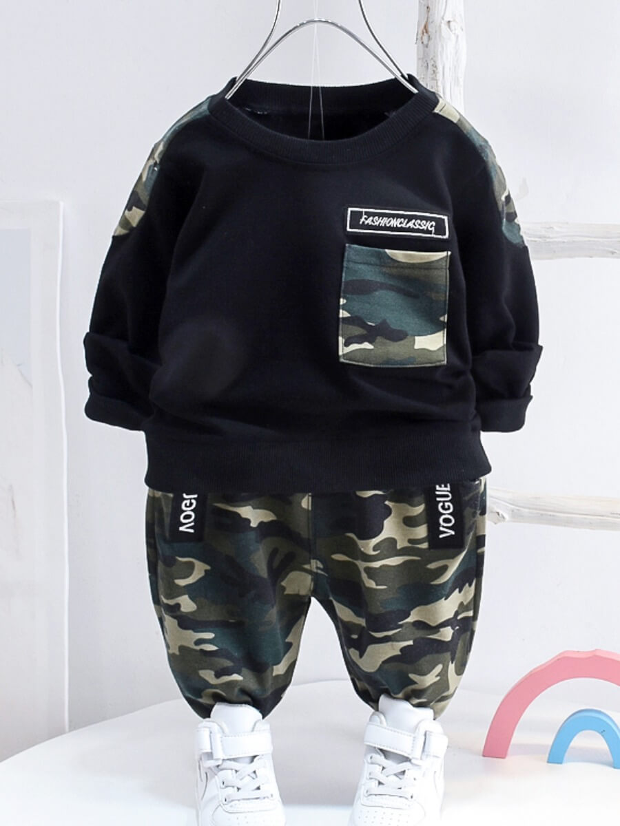LW Lovely Casual O Neck Camo Print Patchwork Black Boy Two-piece Pants Set