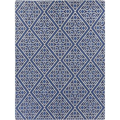 AMD1005-811 8' x 11' Rectangular Alameda Reversible 100% Wool Rug with No Pile and Hand Woven in India in Cobalt  Navy  and