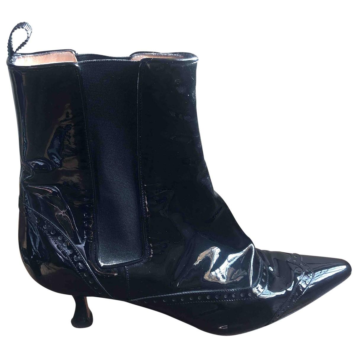 Manolo Blahnik - Boots   pour femme en cuir verni - noir