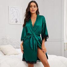 Contrast Lace Self Tie Satin Robe