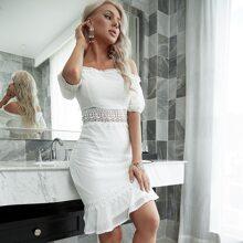 Yilibasha Guipure Lace Insert Bardot Dress