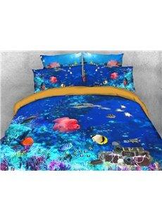 Fish Underwater Soft Warm Duvet Cover Set 4-Piece 3D Animal Bedding Set