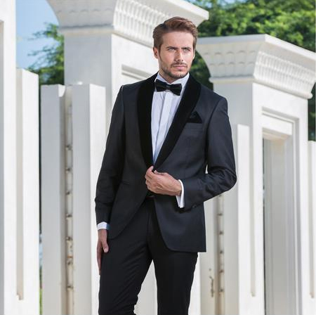 Mens Classic Style Single Breasted Black Shawl Lapel Suit