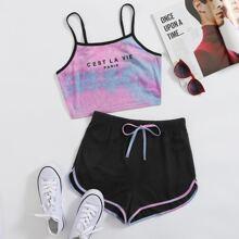 Cami Top mit Kontrast Bindung, Buchstaben Grafik, Batik & Track Shorts Set