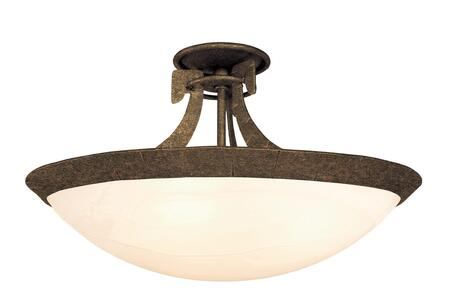 Copenhagen 4346AC/PENSH 3-Light Semi Flush Mount Ceiling Light in Antique Copper with Penshell Natural Bowl Glass