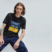 Figurbetontes T-Shirt mit Buchstaben Grafik