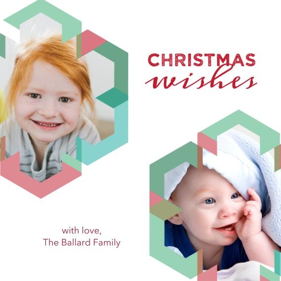 Christmas Photo Cards 5x5 Flat Card Set, 85lb, Card & Stationery -Geometric Snowflakes
